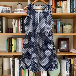 Anthropologie   Navy Fit and Flare Zip Front Dress